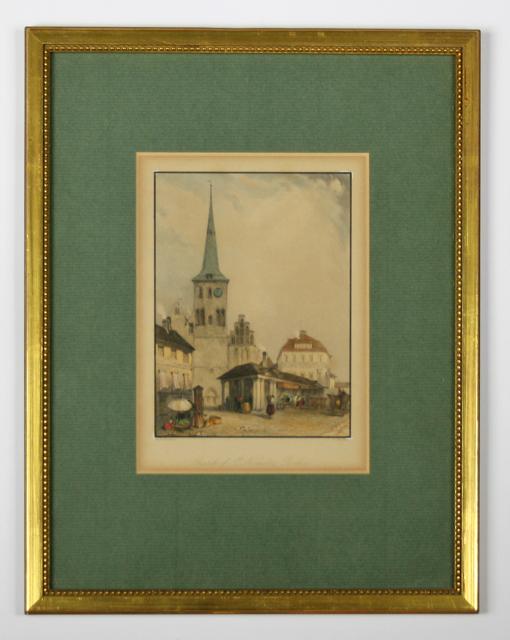 Die Nikolai-Kirche von Berlin, ein handcolorierter Kupferstich gestochen von Barber nach einer Zeichnung von Hintze.